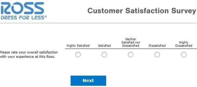 ross dress for less feedback rate survey