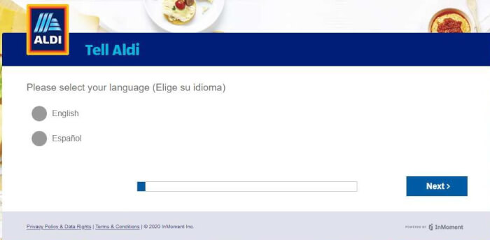 tell aldi select language